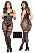 Baci Lingerie [ UK 8 - 14 ] Black Lace Open Style Thigh Garter Bodystocking (... - 183898140799